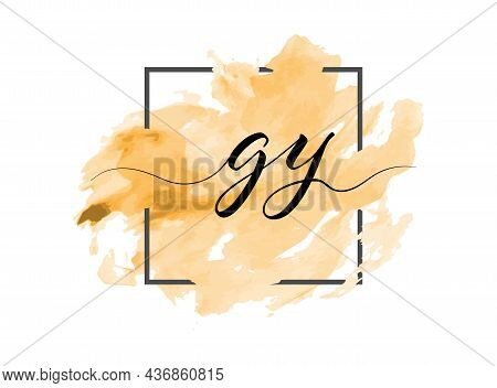 Calligraphic Lowercase Letters G And Y Are Written In A Solid Line On A Colored Background In A Fram