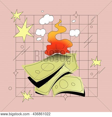 Burning Money Comic Style Vector Illustration. Finacial Crisis, Bankruptcy, Inflation Concept.
