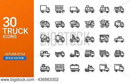 A Collection Of Outlined Icons From Various Types Of Trucks. Freight Trucks And Mining Trucks Icon S