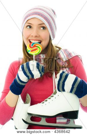 Beautiful Girl Goind Ice-skating
