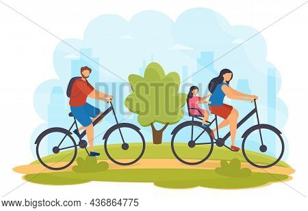 Family Cycling Outdoor. Walking Bicycles In Park. Father, Mom And Daughter Spend Time Together, Outd