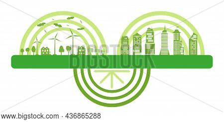 Ecological City Vs Modern Big City. Environment Conservation. Concept Green City With Renewable Ener