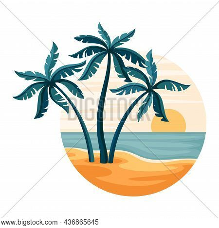 Tropical Landscape With Sunset And Sandy Beach With Palm Tree In Circle Closeup Vector Illustration
