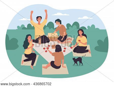 People On Summer Picnic. Family Went To Rest In Nature, Activity, Outdoor. Friends Sit On Blankets.