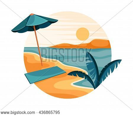 Tropical Landscape With Shining Sun And Sandy Beach With Umbrella Shade In Circle Closeup Vector Ill