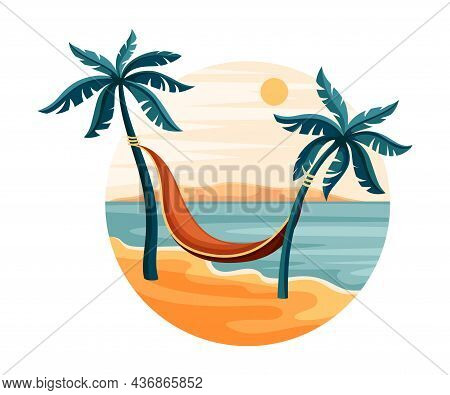 Tropical Landscape With Palm Tree And Hammock In Circle Closeup Vector Illustration