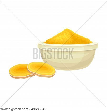 Turmeric Or Curcuma Longa Sliced Rhizome And Powder In Bowl Closeup Vector Illustration