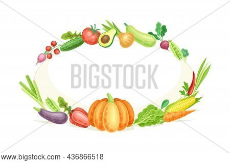 Bright Oval Vegetable Frame With Ripe And Fresh Garden Cultivar Closeup Vector Illustration