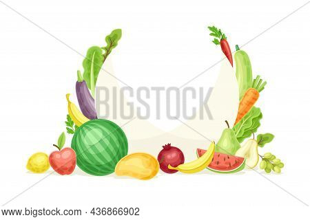 Bright Round Fruit And Vegetable Frame With Ripe And Fresh Garden Cultivar Closeup Vector Illustrati