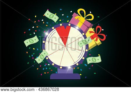 Fortune Wheel Poster. Spinning Lucky Roulette With Win Money Cash, Prize Gifts And Confetti On Dark