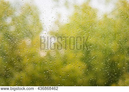 Autumn Glass Window With Raindrops, Nature Background