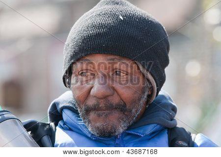 Closeup Of Homeless African American Man