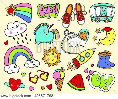 Set Of Girly Graffiti Doodles For Decoration, Stickers Or Embroidery. Cartoon Patch Badges Or Fashio