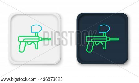 Line Paintball Gun Icon Isolated On White Background. Colorful Outline Concept. Vector