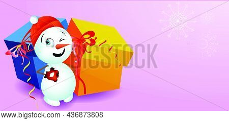 Snowman With Gifts. Cute Illustration, Background For Christmas And New Year