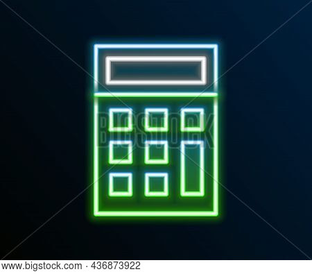Glowing Neon Line Calculator Icon Isolated On Black Background. Accounting Symbol. Business Calculat