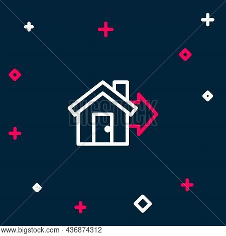 Line Sale House Icon Isolated On Blue Background. Buy House Concept. Home Loan Concept, Rent, Buying