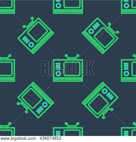 Line Retro Tv Icon Isolated Seamless Pattern On Blue Background. Television Sign. Vector