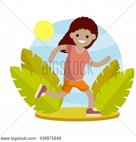 Young Woman In Shorts And T-shirt. Running And Sports.