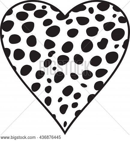 Cheetah Fur Heart , Black And White Vector Illustration