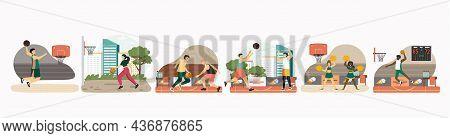 Basketball Player Set, Vector Illustration. Athletes Dribbling, Throwing Ball In Basket, Jumping, Ma