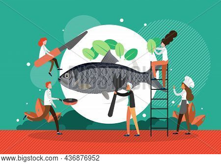 Restaurant, Cafe Chef Cooking Delicious Fish Dinner, Flat Vector Illustration. Gourmet, Tasty And He