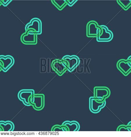 Line Two Linked Hearts Icon Isolated Seamless Pattern On Blue Background. Romantic Symbol Linked, Jo