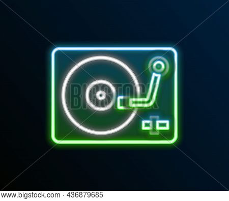 Glowing Neon Line Vinyl Player With A Vinyl Disk Icon Isolated On Black Background. Colorful Outline