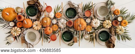 Thanksgiving Day Festive Table Setting For Gathering