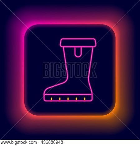 Glowing Neon Line Waterproof Rubber Boot Icon Isolated On Black Background. Gumboots For Rainy Weath