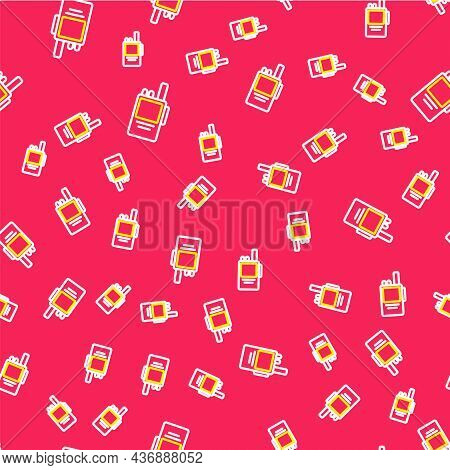 Line Walkie Talkie Icon Isolated Seamless Pattern On Red Background. Portable Radio Transmitter Icon