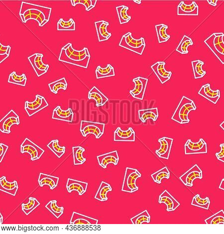 Line Skate Park Icon Isolated Seamless Pattern On Red Background. Set Of Ramp, Roller, Stairs For A