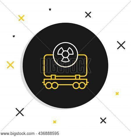 Line Radioactive Cargo Train Wagon Icon Isolated On White Background. Freight Car. Railroad Transpor