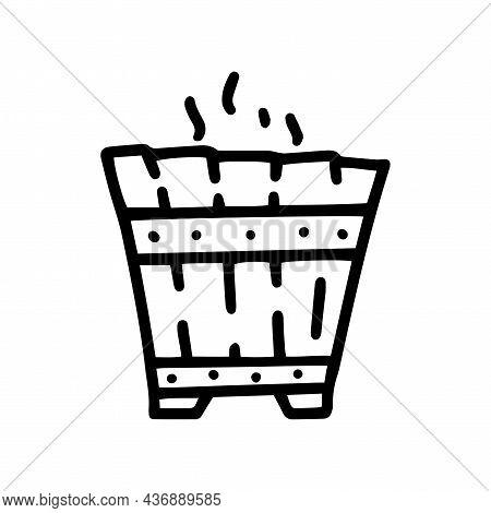 Sauna Wooden Bucket Line Vector Doodle Simple Icon