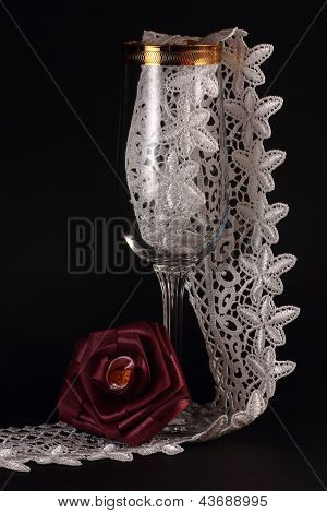 Red Silk Rose And Glass
