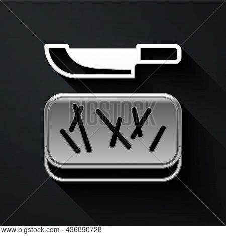 Silver Cutting Board And Knife Icon Isolated On Black Background. Chopping Board Symbol. Cutlery Sym