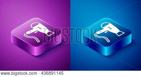 Isometric Hair Dryer Icon Isolated On Blue And Purple Background. Hairdryer Sign. Hair Drying Symbol