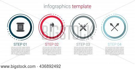 Set Decree, Parchment, Scroll, Medieval Axe, Crossed Medieval Sword And Spears. Business Infographic