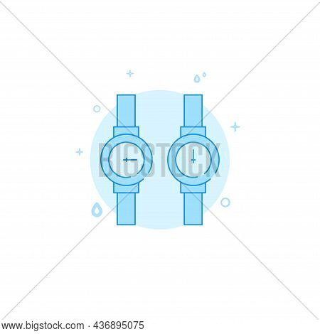 Hot And Cold Water Meters Vector Icon. Plumbing Flat Illustration. Filled Line Style. Blue Monochrom