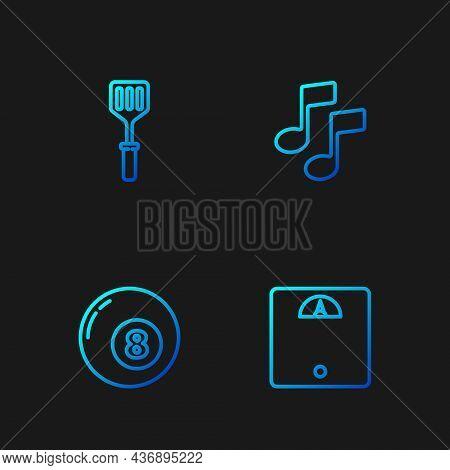 Set Line Bathroom Scales, Billiard Pool Snooker Ball, Spatula And Music Note, Tone. Gradient Color I