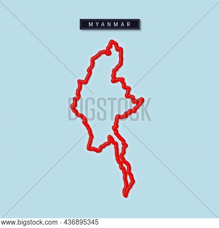 Myanmar Bold Outline Map. Glossy Red Border With Soft Shadow. Country Name Plate. Vector Illustratio