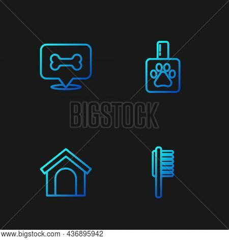 Set Line Pets Vial Medical, Dog House, Bone And Shampoo. Gradient Color Icons. Vector