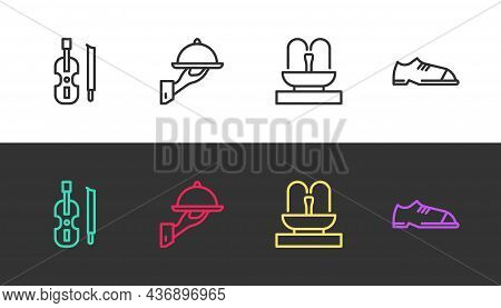 Set Line Violin, Covered With Tray Of Food, Fountain And Men Shoes On Black And White. Vector