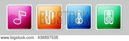 Set Line Music Note, Tone, Audio Jack, Banjo And Stereo Speaker. Colorful Square Button. Vector