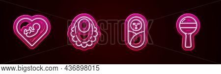 Set Line Baby Inside Heart, Bib, Newborn Baby Infant Swaddled And Rattle Toy. Glowing Neon Icon. Vec