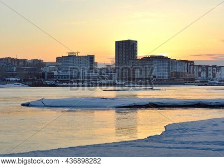 Novosibirsk, Siberia, Russia-03.10.2019: The Obi Coast At Dawn, Snow And Ice On The Shore In Spring,