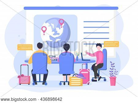 Travel Agency Background Vector Illustration. People Visit The Landmarks Of These World Famous Touri
