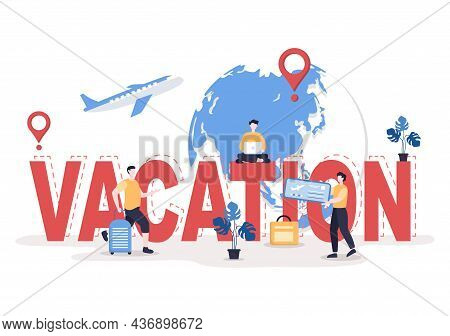 Travel Around The World Vector Illustration Background. Time To Visits Icon Landmarks And Other Tour