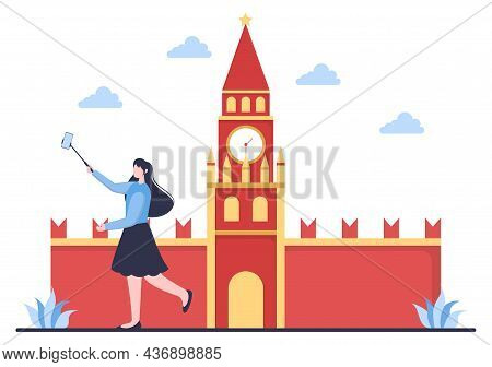 Travel To Russia Background Vector Illustration. Time To Visit The Icon Landmarks Of These World Fam