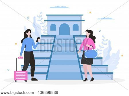 Travel To Mexico Background Vector Illustration. Time To Visit The Icon Landmarks Of These World Fam